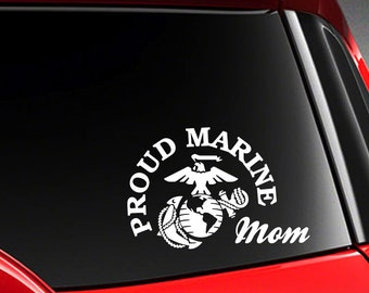 "Proud Mom US Marine Vinyl Car Decal Sticker 7"" (W) with marine logo"