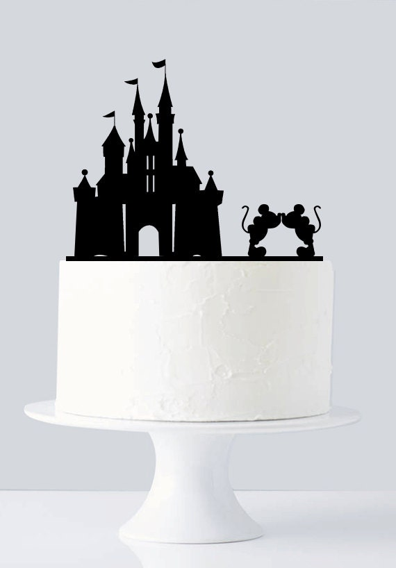 mickey and minnie silhouette wedding cake topper castle cake topper mickey and minnie cake topper disney cake 17345
