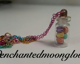 Mini macaroon glass jar necklace
