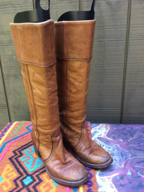 1970s frye boots caramel cuff knee high womens size 6 5 b