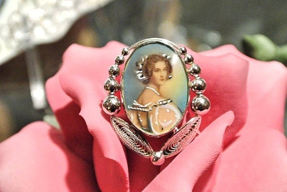 Vintage Portrait Brooch Carl Art 1940s 40s Antique Sterling Silver Brooch Victorian Revival Cameo Hand Painted Accents Lucite Brooch