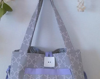 Gray & Purple Tote/ Handbag or Diaper Bag