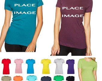 Womens (fitted) custom t-shirt printing - No minimums/Set up fees