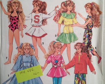 "Vintage 1991 Simplicity 7600 sewing pattern wardrobe 10"" doll Skipper and Courtney UNCUT"
