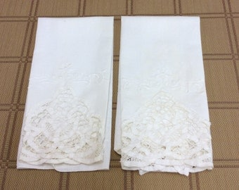 Vintage White Hand Towels