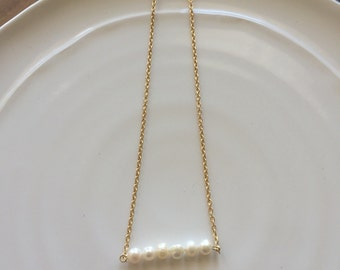 Cailey // pearl bar necklace