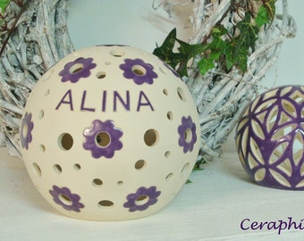 "Personalized lamp with name, birth, baptism lamp o. name lamp, ""Alina"" 11 cm, 16 cm, 20 cm diameter"