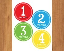 DIY Printable Monthly Onesie Iron Ons, Printable Monthly Onesie Stickers - Boy