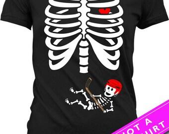 Pregnant Skeleton Shirt Halloween Pregnancy Announcement T Shirt Pregnancy Reveal Shirt Skeleton Baby Hockey T-Shirt Ladies Tee MAT-23