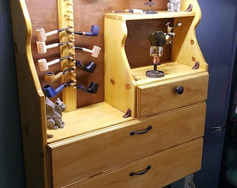 18+Pipe Handmade Lighted Tobacco Pipe Rack Cabinet