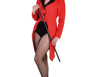 Ladies Red / Black Tailcoat - Circus Ringmaster