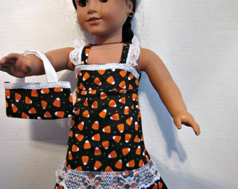 18 Inch Doll Clothes, Doll Clothes, Halloween Doll Clothes, Doll Dress, Custom Doll Clothes, Candy Corn Dress, Clothes For Dolls