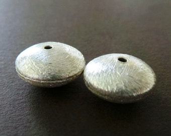 Thick Heavy Weight Matte Puffy Sterling Spacer Disc Heshi Beads-Size 16mm