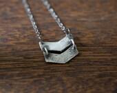 double chevron necklace - silver chevron necklace - chevron jewelry - chevron pendant - boho style