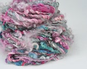 Handspun Curly Yarn - Pretty Lock Spun - Butterfly Garden - 40 Yards