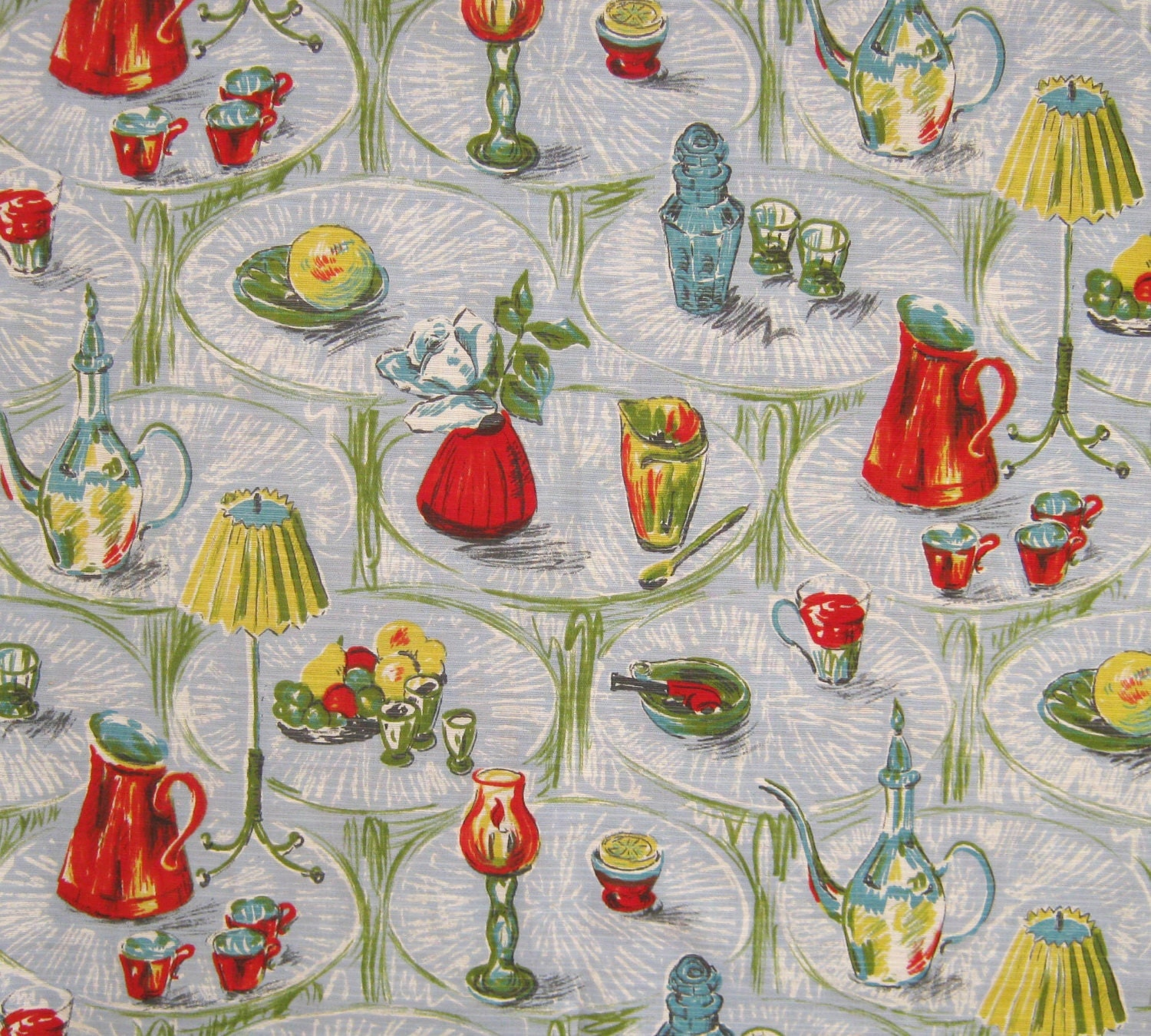 Original Vintage Fabric Remnant 1950s Kitchen Home Design