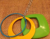 Neon Blue Green & Yellow Geometric Ring Necklace