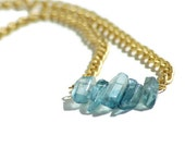 Raw Crystal Statement Necklace Blue Titanium Quartz Long Shard Raw Drop Urban Natural Brushed Gold Heavy Chain