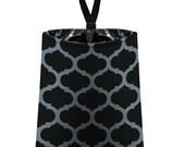 Car Trash Bag // Auto Trash Bag // Car Accessories // Car Litter Bag // Car Garbage Bag - Moroccan Trellis (dark grey black) / Car Organizer