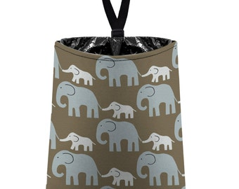 Car Trash Bag // Auto Trash Bag // Car Accessories // Car Litter Bag // Car Garbage Bag - Elephants (grey on dark taupe) // Car Organizer