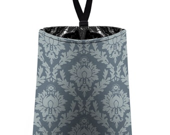 Car Trash Bag // Auto Trash Bag // Car Accessories // Car Litter Bag // Car Garbage Bag - Damask - Light Grey and Dark Grey // Car Organizer