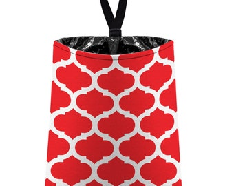Car Trash Bag // Auto Trash Bag // Car Accessories // Car Litter Bag // Car Garbage Bag - Moroccan Trellis - Red and White