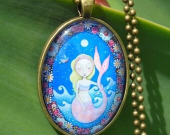 Blonde Mermaid Necklace Mermaid Brunette Mermaid Art Jewelry Little Girls Necklace Kids Jewelr Gift Sister Gift for friend Mermaid Jewellery