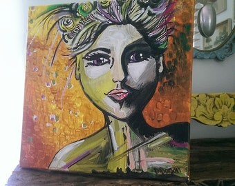 80 OFF, Speak To Me, Original Painting, Portrait, Joy, Kind Soul, Bohemian, Art, Colourful, Wall Art, Home Decor 12 x 12