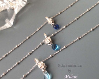 Blue Gemstone Necklace Three Bridesmaids Jewelry Gift Aqua Royal Dark Mismatched Ombre Sterling Silver