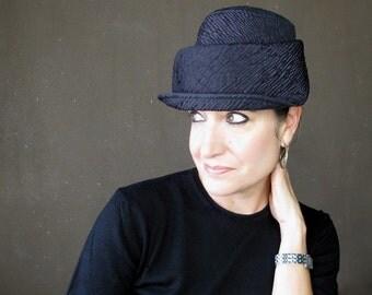 Womens winter hat Plum cloche Brimmed hat Modern millinery Neoprene accessory Violet hat Sewn fabric hat High fashion hat : Plot Twist
