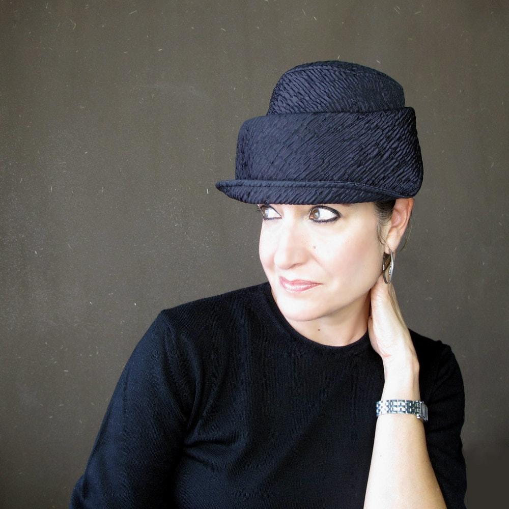 Plum Neoprene Cloche Hat With Asymmetrical Shape Amp Soft Brim