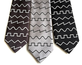 Oscillator waves necktie. Square, saw, triangle & sine wave print men's tie. Synthesizer, electronic audio engineer, music producer gift.