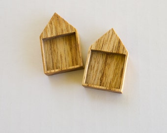 House - Pendant Blank - Wooden Tray - Handcrafted by ArtBASE - Light Mahogany Wood - 25.5 mm - (H425-M) - Set of 2