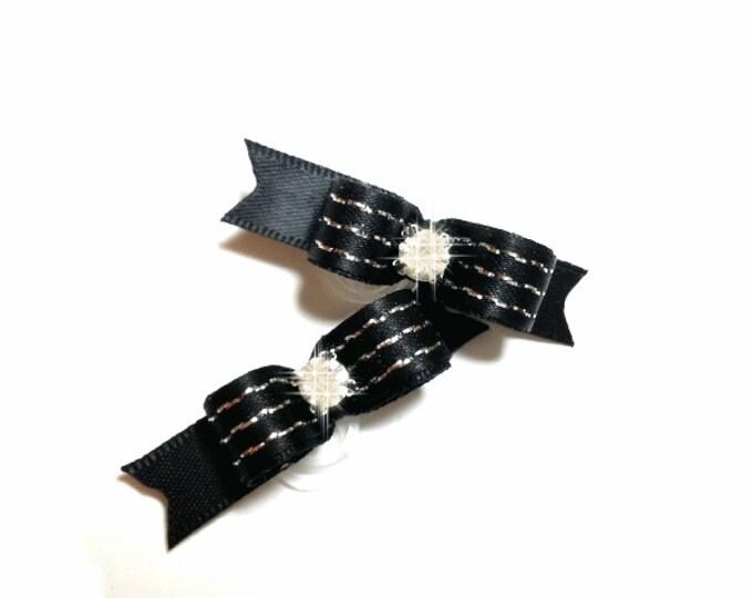 Black Dog Bow with Silver Stripes, Boy Dog Bow, Maltese Dog Bow, Black Grooming Bows