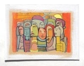 "Original Mixed Media Drawing / Painting ""United Front"" by Torrant, faces, figures, modern, funky, illustration"