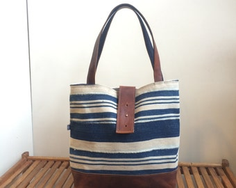 Last One! Ann Dogon and Leather Shoulder Bag in Indigo African Fabric