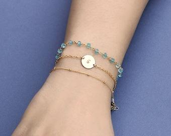 Stacking Bracelet Set or Gemstone Bracelet, Circle Bracelet Satellite Beaded Chain, Delicate Jewelry, Engrave Bracelet, Personalized Jewelry