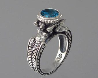 CARYAID 14k white gold ring with London Blue Topaz