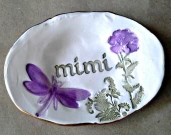 Ceramic MIMI Trinket Ring Bowl  edged in gold
