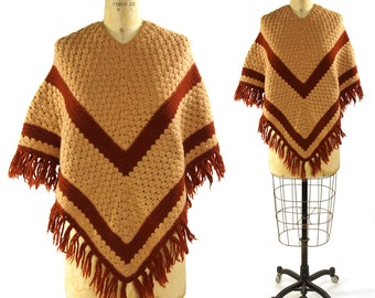 Fringed Poncho / Vintage 1970s Knit Chevron Poncho with Tassel Trim / Handmade One of a Kind OOAK