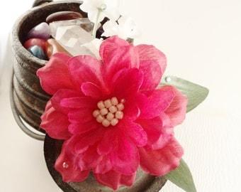 Hot Pink Dahlia Hair Snap Clip, Cute Beaded Flower Hair Accessory