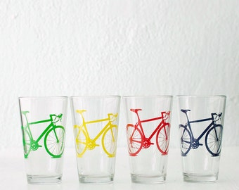 VITAL BICYCLE BARWARE screen printed bike pint glasses