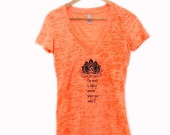 "neon orange yoga t-shirt - burnout fabric - lotus - ""the grass is always greener where you water it"""