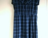 vintage 1950s day dress in plaid - debbie day dress in navy and teal blue - size medium dress - pleated mad men dress with button collar