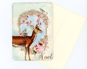 Christmas Cards , Flat Cards , Deer Note Cards , Noel Cards , Holiday Cards , Pink and Aqua Cards