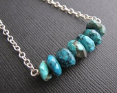Turquoise Bar Necklace, Faceted Natural Turquoise Layering Necklace on Sterling Silver Chain