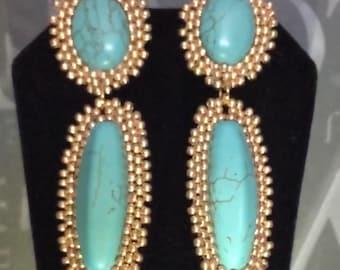 Beadwork Post Earrings Turquoise Dangle Earrings