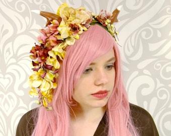 Dark Pink and Ivory Faun Headdress, Horned Flower Costume Headdress, Flower Crown, Maenad, Lolita, Mori, Fawn, Deer Antler, Cosplay, Satyr