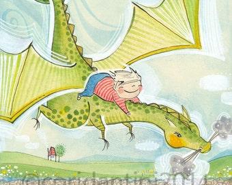 Dragon nursery art, little boy riding a dragon by Cori Dantini,  boys room - nursery decor - limited edition - 8 x 10 print