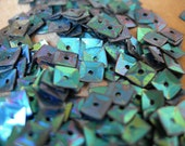 Sequins Vintage Peacock BLUE GREEN Iris Rainbow SQUARE Metallic Faceted 1/4 strand lot of 200+